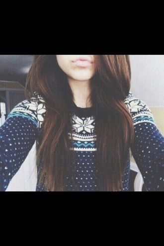 sweater jumper winter outfits fall outfits cozy warm cold tumblr girl teenagers cute cool pattern christmas snow snowflake dots polka dots navy white blue