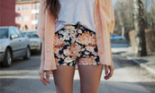 shorts,floral,flowered shorts,cardigan,pastel,jacket,lovely,peach,grey,t-shirt,shirt,black,pink,summer,hot pants,girl,swag,yolo,spring,sun fun,shorts cardigan orange flowers cute,navy,coral,sweater,cute dress,cute,outfit,flowers,nice,hot,style,orange,neon,outfit idea