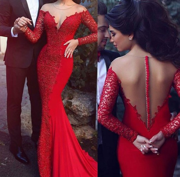Dress: red prom dress, long sleeve dress, backless prom dress ...