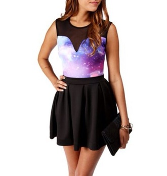 dress galaxy top black skirt