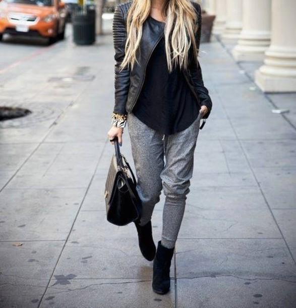 jacket pants leather jacket black comfy grey heels bag jewels outfit
