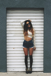 shirt,stockings,underwear,shorts,denim,vintage,high waisted,t-shirt,High waisted shorts,cut off shorts,cute,shoes,clothes,socks,knee high socks,cropped sweater,messy hair,sunglasses,knee lenght socks,summer outfits,nice,style,fashion,top,gol,tank top,hipster shorts,summer,denim shorts,blue shorts