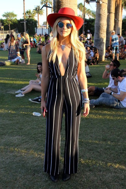 Jumpsuit: stripes, black and white, coachella, fedora, red ...