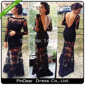 dress black dress formal dress lace lace dress black lace low back