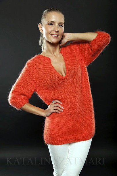 sweater orange sweater mohair sweater knitted sweater v-neck sweater fuzzy sweater fitted sleeved sweater cozy sweater women's sweater cashmere jumper