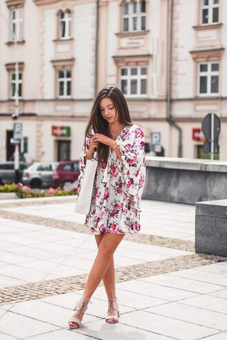 kolorowa dusza blogger dress bag jewels shoes floral dress sandals summer dress summer outfits