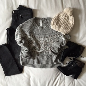 shoes boots black boots black jeans knitted jumper winter outfits sweater hat