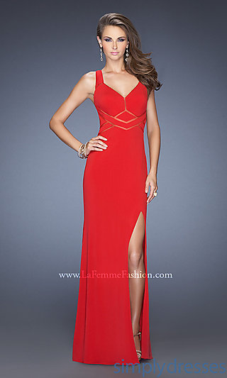 La Femme Long V-Neck Prom Dress, Sleeveless Gown - SimplyDresses