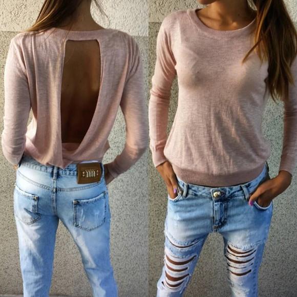 jumper top open back tshirt cut out top