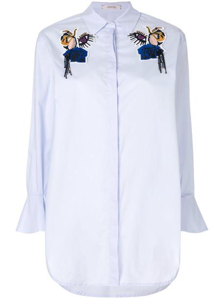 shirt women spandex cotton blue top
