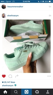 shoes,blue,puma,sneakers,puma sneakers,low top sneakers,green sneakers,puma suede,mint,suede,creepers,ice blue,black,puma classic,classic