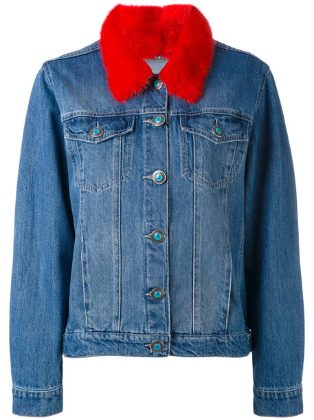 jacket denim jacket denim fur fox women cotton blue