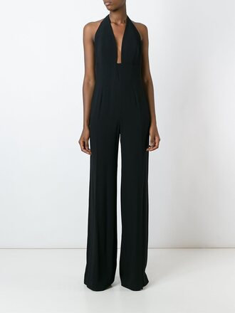 jumpsuit black jumpsuit plunge v neck plunge neckline classy elegant fall outfits sexy sexy outfit date outfit