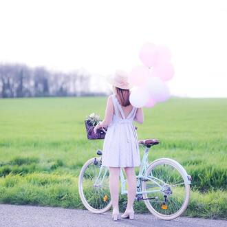 coat french girl bike hat baloon midi dress blue dress light blue sun hat spring outfits