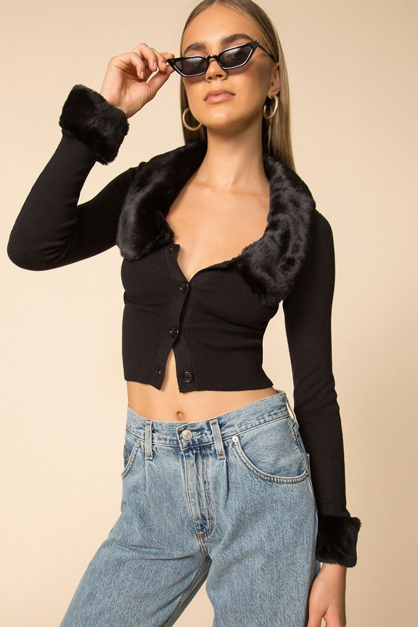 Elaney Faux Fur Cardigan