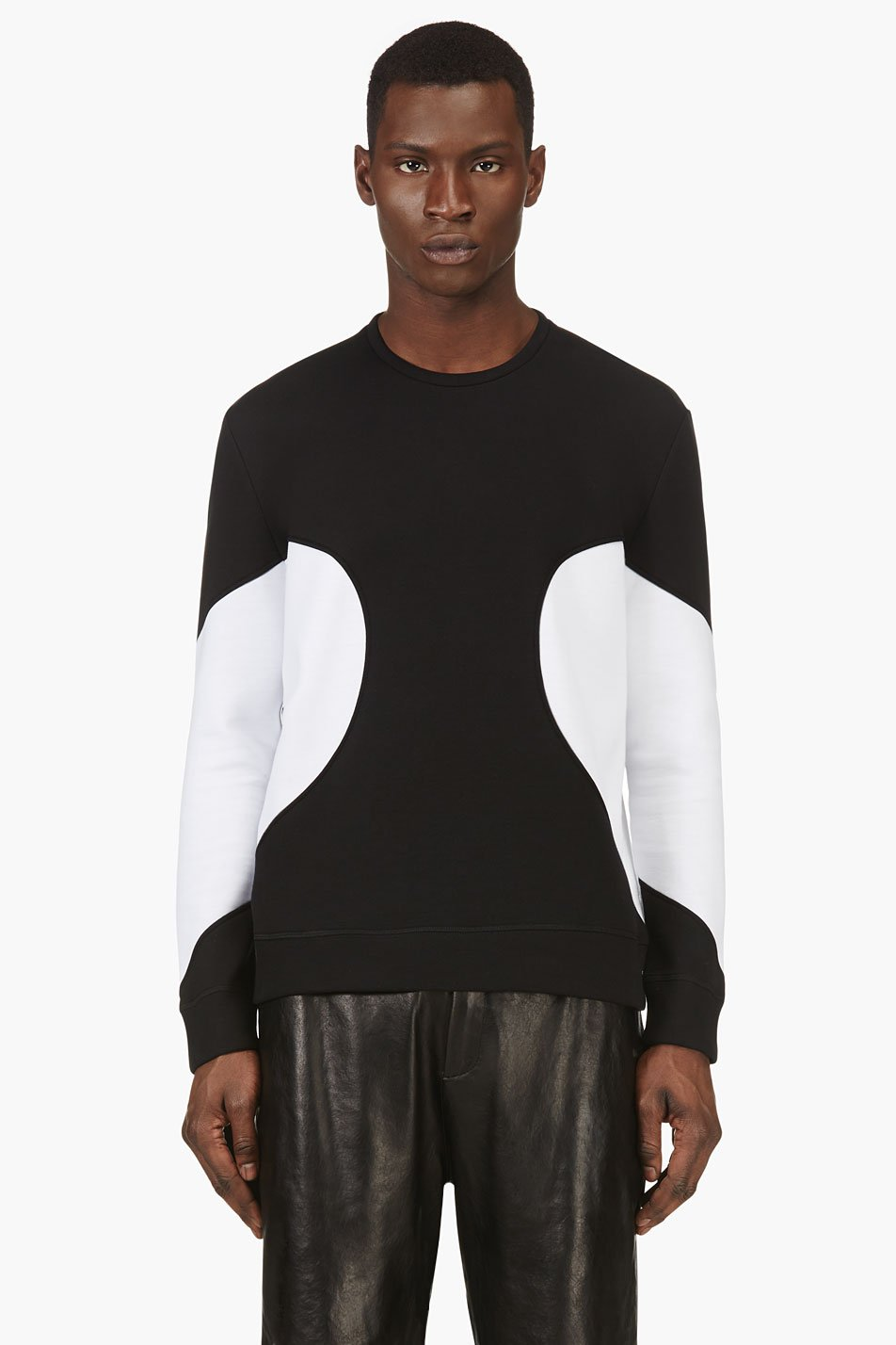 neil barrett black and white colorblocked crewneck top