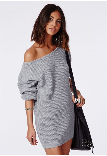 Missguided - Ayvan Off Shoulder Knitted Jumper Dress Grey a23f9bfde