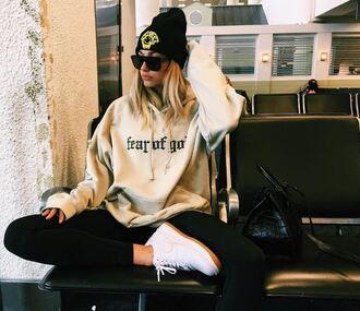 hat beanie sweatshirt hoodie sneakers instagram hailey baldwin sunglasses shoes sweater beige beautiful fear of god cool cozy cozy sweater