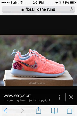 shoes coral floral nike shoes roshe runs nike