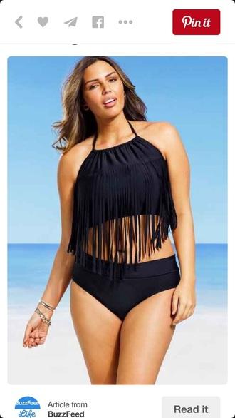swimwear black black swimwear tassel beach boobs black bikini plus size plus size swimwear curvy swimwear two piece