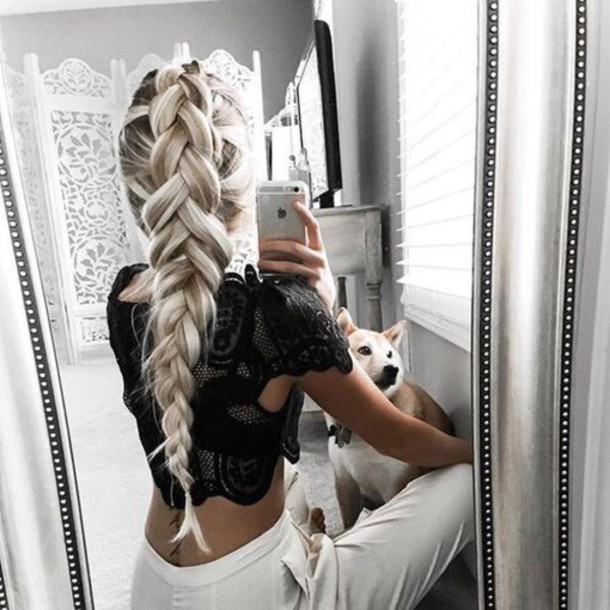 top top blogger lifestyle white top bikini top black top summer top tank top black crop top cute top streetwear streetstyle street goth outfit outfit idea lookbook lace lace top crop tops crop cropped cropped turtleneck hair accessory tumblr blonde hair braid hairstyles black lace top