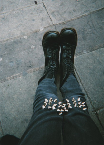pants spikes jeans