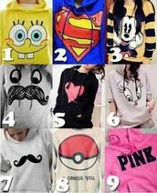 sweater,moustache,superman,spongebob,pink,heart,mickey mouse,pokemon,heart sweater,t-shirt,pull mickey,clothes,blue,birdy,red,black,blouse,sweatshirt,white,grey sweater,grey,yellow,mustard sweater,pokeball,mickymouse,jacket,pretty,sweet,chilling,shirt,top