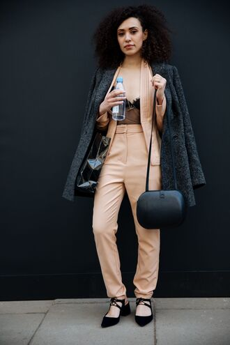 coat london fashion week 2017 fashion week 2017 fashion week streetstyle grey coat blazer pants nude pants camel top underwear see through see through top mesh mesh top bag black bag shoes black shoes slingbacks mid heel sandals