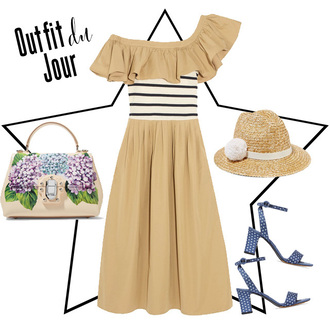 fashion foie gras blogger dress bag shoes hat beige dress summer outfits handbag sandals