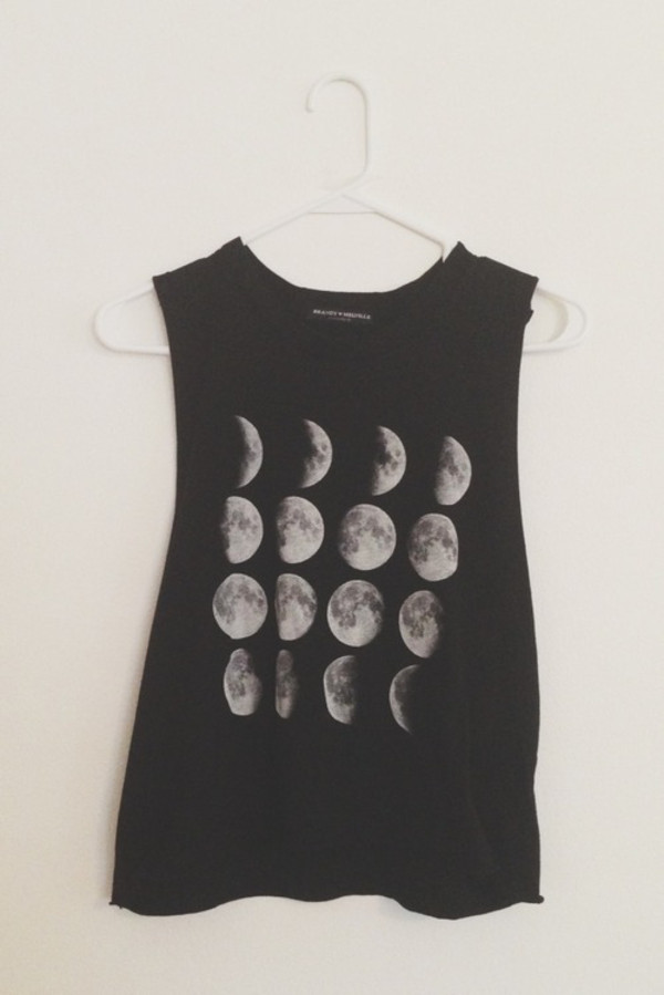 shirt tank top top moon tumblr clothes t-shirt tank top moon phases black