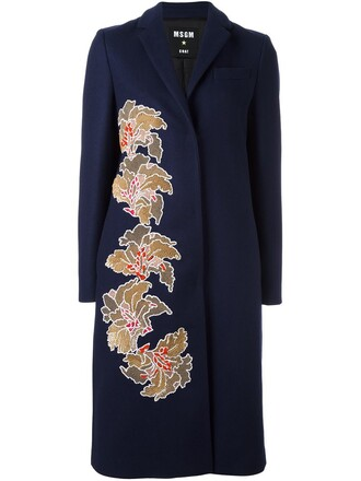coat women midi blue silk