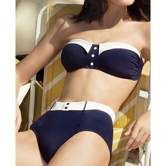 swimwear bikini navy summer beach fashion strapless dope swimwear trendy rose wholesale-feb