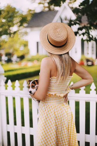 top bandeau hat tumblr matching set gingham crop tops sun hat straw hat gingham skirt