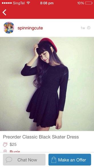 dress skater classic lbd black korean cute sweet hot pretty skirt pleats fashion