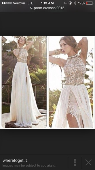 dress found on google! cream color goddess dresss ivory dress prom dress lace dress long dress prom gown prom dresses lace halter dress long prom dress maxi dress two-piece trendy 2015 prom 2015 prom dress slit dress slit slit skirt gold dress lace tan color white dress white prom dress white white lace dress lace wedding dress lace prom dress sequin dress seqins sequin prom dress tumblr outfit tumblr dress gold prom dress backless prom dress bckless dress high low prom dresses beaded chiffon side split full length tan flowers halter top slit up to hip off white skirt party dress ivory-champagne color  lace   flowers with leg out and satin material high collar champagne pearl prom classy elegant long gown chiffon long gown high collard skirt slit formal dress pink prom dress long pretty beige dress