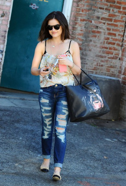 jeans ripped jeans lucy hale bag top