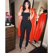 jumpsuit,black jumpsuit,red coat,kylie jenner,kardashians,keeping up with the kardashians