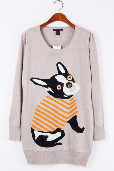 Cute dog graphic long sweater