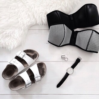 jewels tumblr black watch watch daniel wellington triangle bikini triangl bikini top black bikini slide shoes white shoes shoes birkenstocks ring neoprene bikini bandeau bikini minimalist