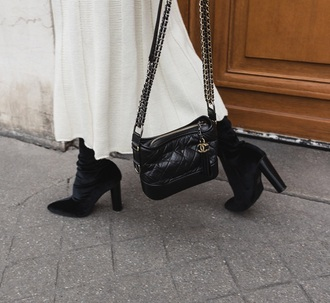 bag chanel gabrielle small hobo bag chanel chanel bag black bag boots black boots