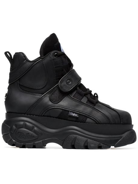 Buffalo women sneakers leather black shoes