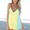 Multi jump suits/rompers - multi-colored neon playsuit with v-neck | ustrendy