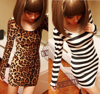 Aliexpress.com : Buy 2013 Fashion Women all match basic Mini dress long sleeve Leopard Dress Print stripe Lady Sexy Slim Dance Dress Free shipping from Reliable dress up dress suppliers on Guangzhou Miku Trade Co., Limited.