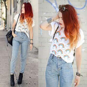 jeans boyfriend jeans rainbow grunge vintage white denim tattoo heels ankle boots