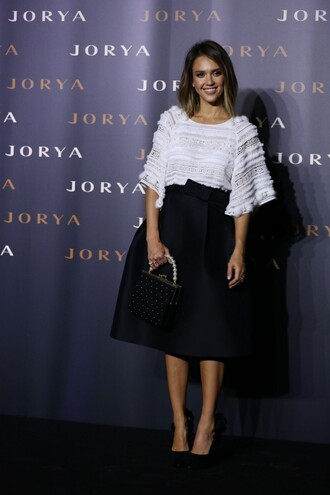 blouse top skirt midi skirt jessica alba