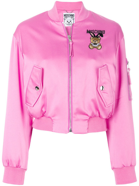 Moschino jacket bomber jacket bear women spandex cotton purple pink