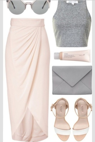 light pink skirt draped date outfit midi skirt light pink