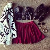 black top,corset,white sweater,statement necklace,combat boots,mini skirt,burgundy,burgundy skirt,summer outfits,crop tops,black crop top,sunglasses,jewels,jewelry,skirt,shirt,top,cardigan,skater skirt