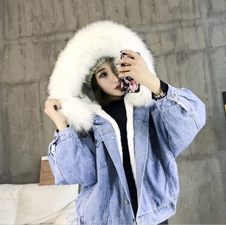 coat girly denim jacket denim white fur fur jacket fur hood