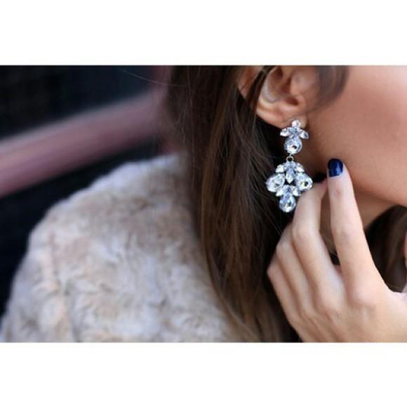 jewels diamonds girl big glimmer woman flowere earrings